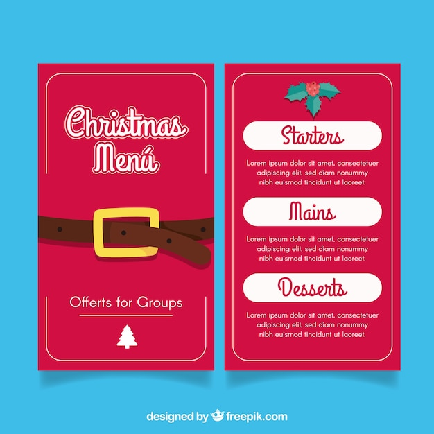 christmas menu with santa claus belt free vector - Santa Claus Belt