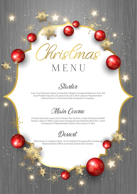 Christmas menu on wood texture Free Vector