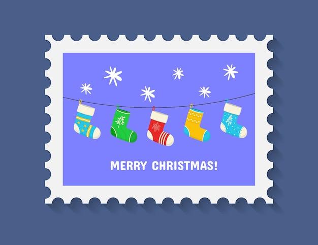 休日のシンボルと装飾要素とクリスマスの陽気なかわいいスタンプ Premiumベクター