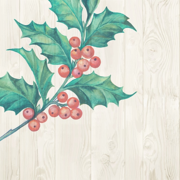 Christmas mistletoe branch isolated on wooden background Free Vector