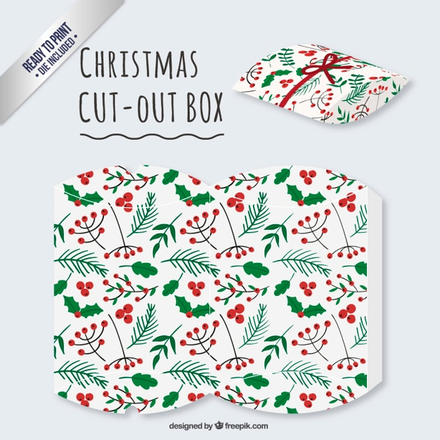 Christmas mistletoe cut out box Premium Vector