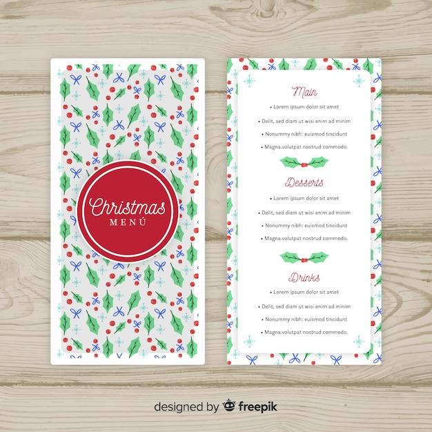 christmas mistletoe pattern menu template vector free download