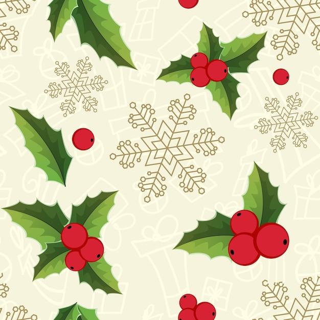 Рождественские омелы бесшовные модели со снежинками Бесплатные векторы