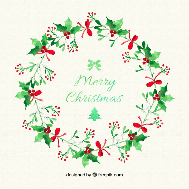 Christmas mistletoe wreath Vector | Free Download