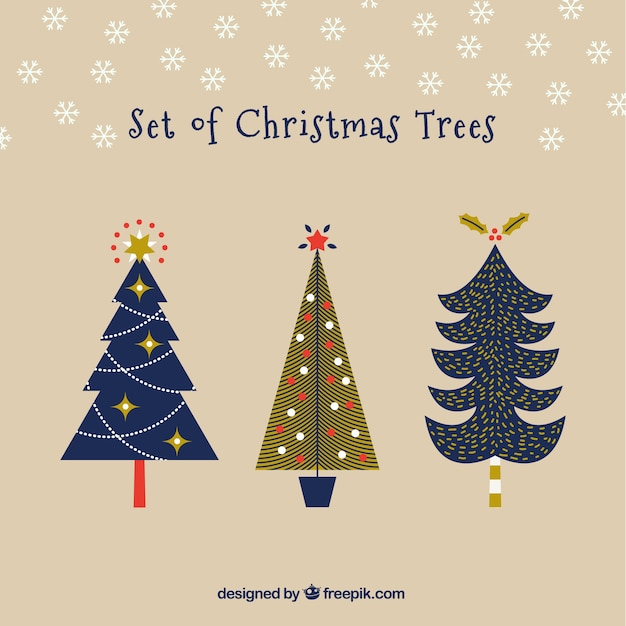 Christmas modern tree set Vector | Premium Download
