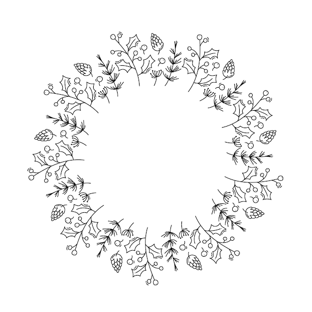 Christmas monoline  wreath with cone branches and berries Premium Vector