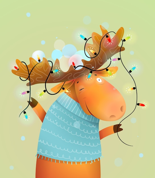 Christmas moose or reindeer with lights on antlers decorated for merry holiday. kids and nursery winter animal illustration, cartoon in watercolor style. Premium Vector