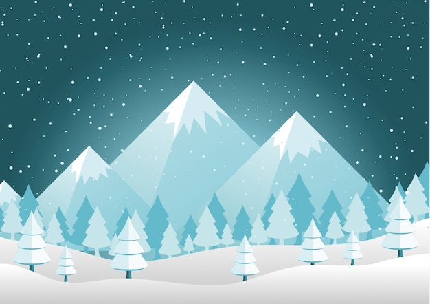 Christmas mountains pines and hills landscape background  vector illustration Premium Vector