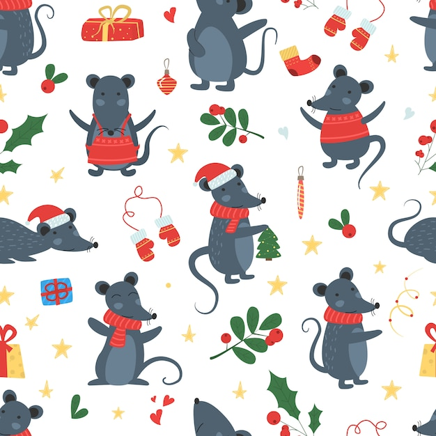 Christmas mouse seamless pattern winter vector. Premium Vector