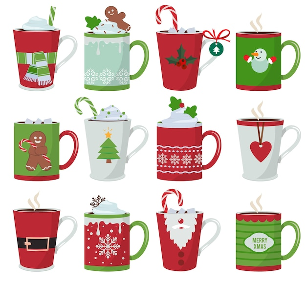 Christmas mug. holiday decoration at vessel for hot drinks coffee latte or tea cup vector cartoon illustrations. cup coffee and mug with hot chocolate Premium Vector