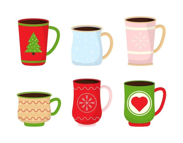 Рождественские кружки с горячим напитком. Premium векторы