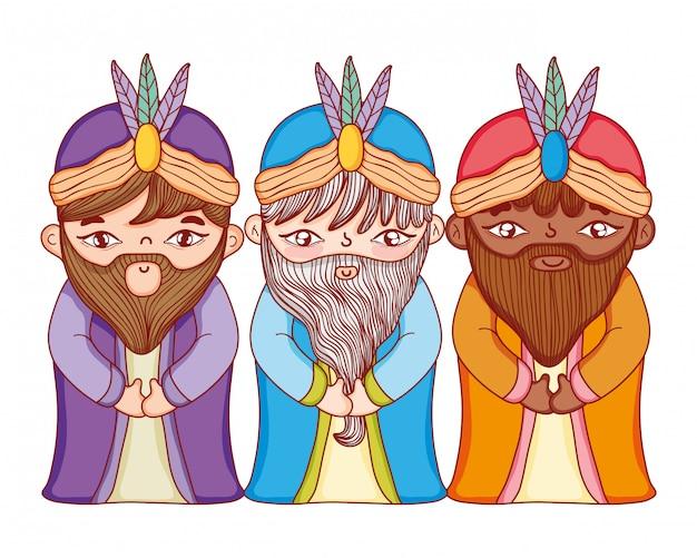 Christmas nativity scene cartoon Premium Vector