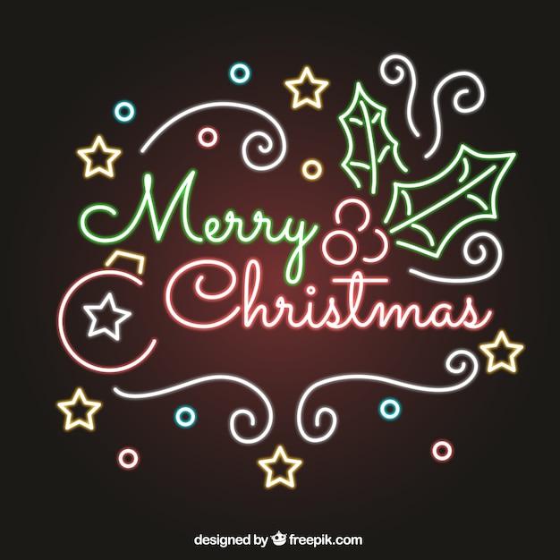 christmas neon lights free vector