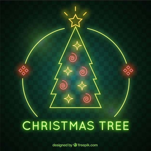 Christmas neon tree background