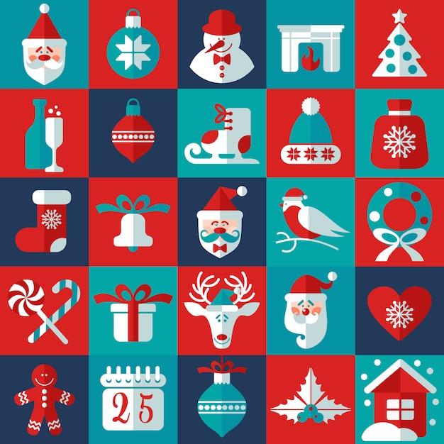 Christmas and new year background icons set. scandinavian style. Premium Vector