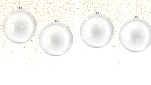 Christmas, new year background with glass balls. new year decoration Premium Vector