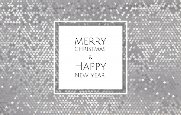 Christmas and new year background with silver glitter texture, xmas card Premium Vector