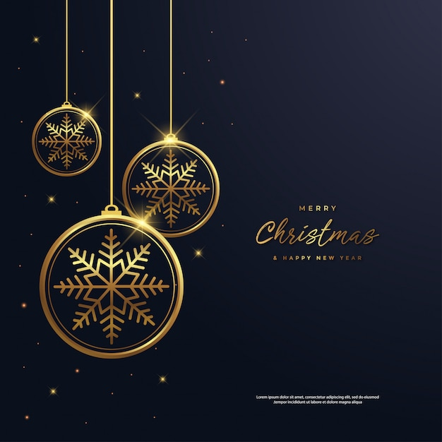 Christmas and new year background with snowflake gold Premium Vector