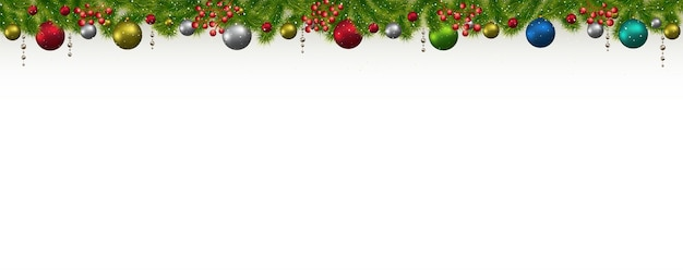Christmas and new year banner with fir-trees, garlands and berries.  christmas card, flyer or site header. Premium Vector