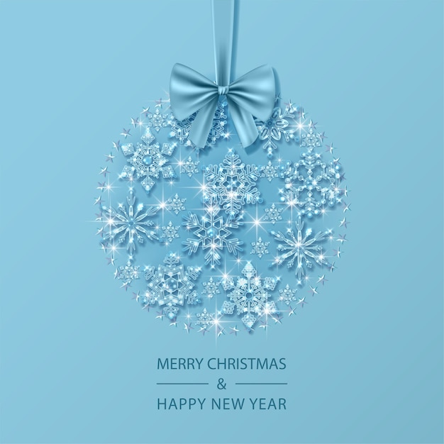 Christmas and new year card with christmas ball composed of glass crystal snowflakes Premium Vector