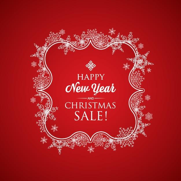Carta natale e capodanno con scritta in elegante cornice e fiocchi di neve sul rosso Vettore gratuito
