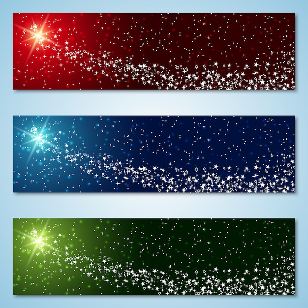 Christmas and new year colorful banners Premium Vector