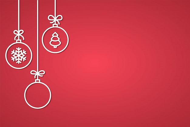 Christmas and new year congratulation banner with line decorative tree balls Premium Vector