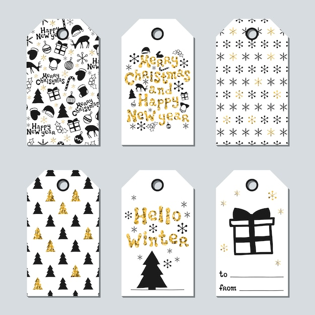 Christmas and new year gift tags Premium Vector