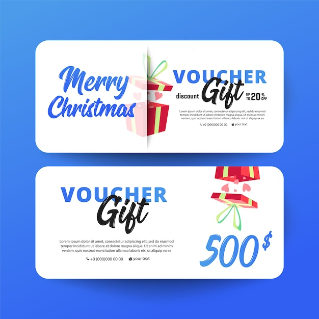 Christmas and new year gift voucher Premium Vector