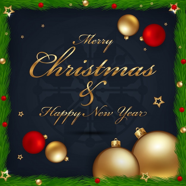 Christmas and new year greeting card Premium Vector