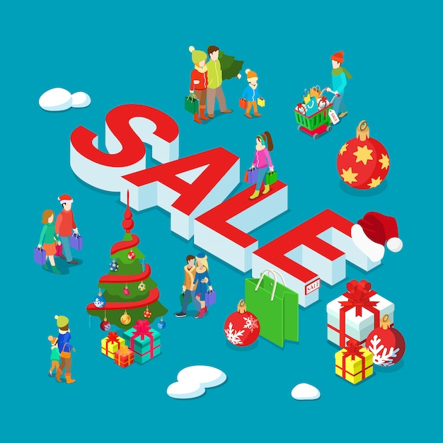 Christmas and new year holiday sale isometric banner Free Vector