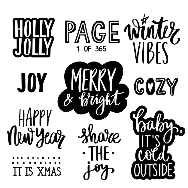 Christmas and new year lettering quotes, phrases, wishes and stickers collection. decoration for winter holidays isolated on white background. Premium Vector