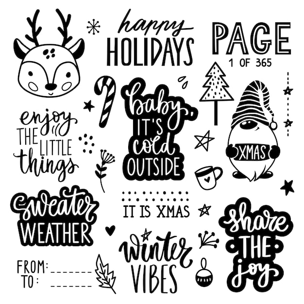 Christmas and new year lettering quotes, phrases, wishes and stickers collection with deer baby, gnome, christmas tree. Premium Vector
