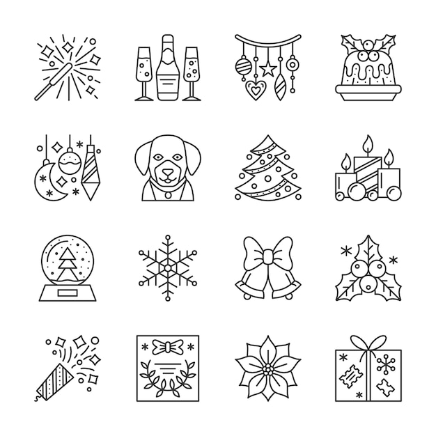 Christmas, new year line icons set, winter holidays linear symbol, outline sign, editable stroke. Premium Vector