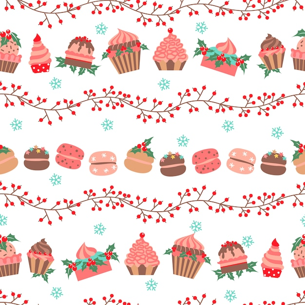 Christmas and new year pattern Premium Vector
