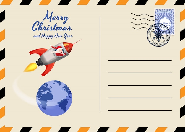Christmas and new year postcard with stamps and mark. Premium Vector