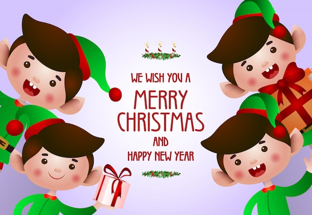 Christmas and new year poster design Free Vector