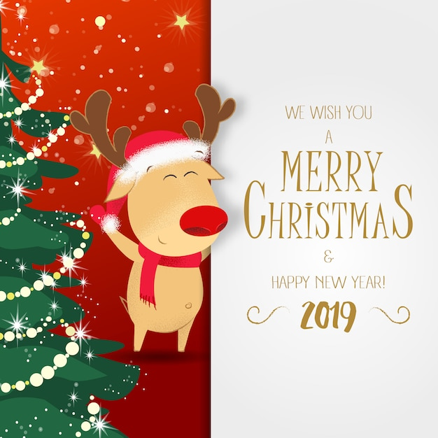 Christmas and new year poster. rudolph reindeer Premium Vector