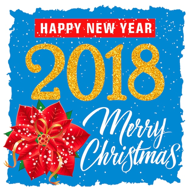 Christmas and new year poster with flower Free Vector