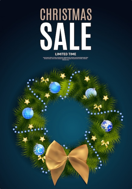 Christmas and new year sale background, discount coupon template Premium Vector