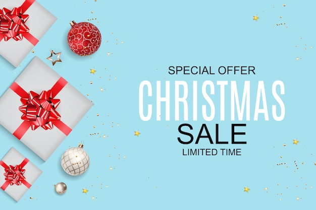 Christmas and new year sale background, discount coupon template. Premium Vector