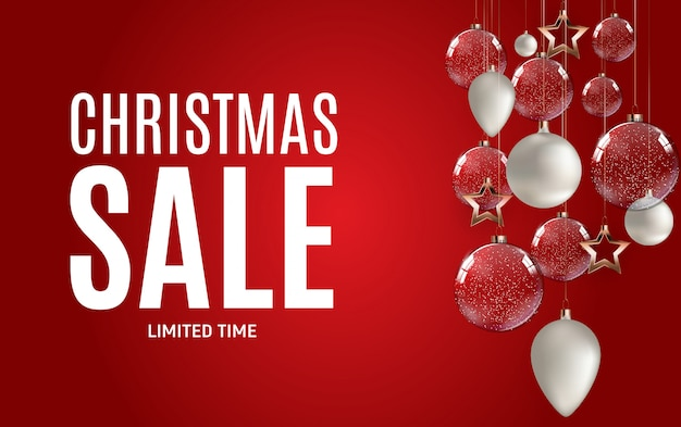 Christmas and new year sale banner with decoration Premium Vector