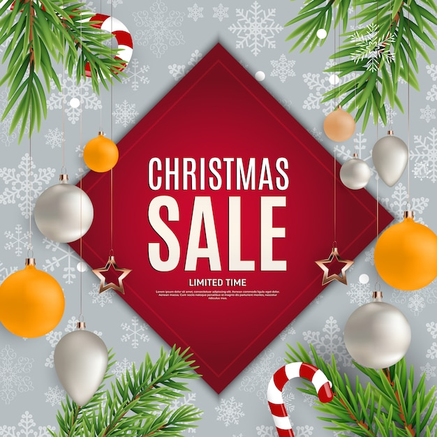 Christmas and new year sale banner Premium Vector
