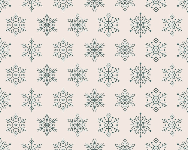 Christmas, new year seamless pattern, snowflakes icons. Premium Vector