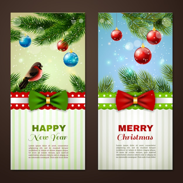 Christmas and new year season classic greetings cards samples Free Vector