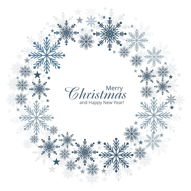 Christmas and new year snowflakes card background vector Free Vector