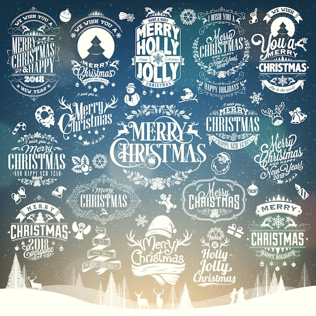 Christmas and new year vector set background with typography Premium Vector