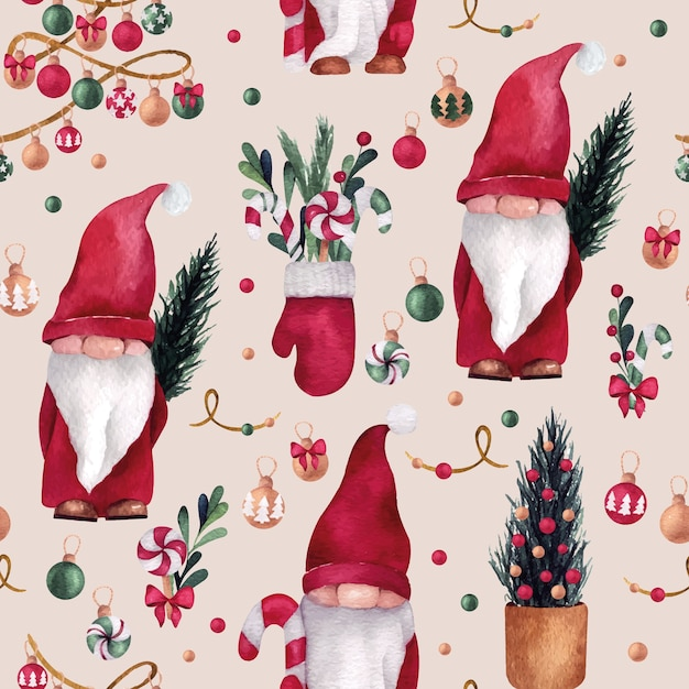 Christmas and new year watercolor seamless pattern with cute gnome, mitten and pine tree balls Premium Vector