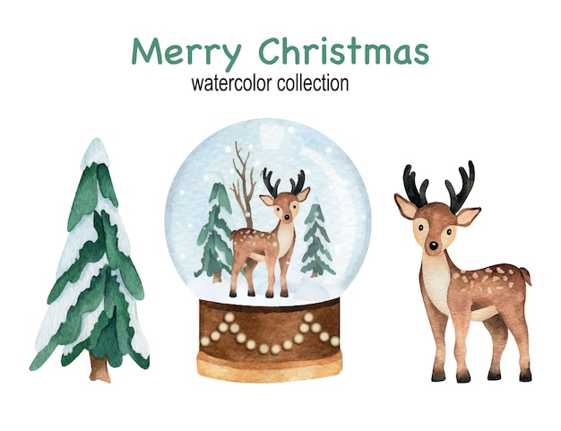 Christmas and new year watercolor set with pine trees, snowball globe and deer Premium Vector