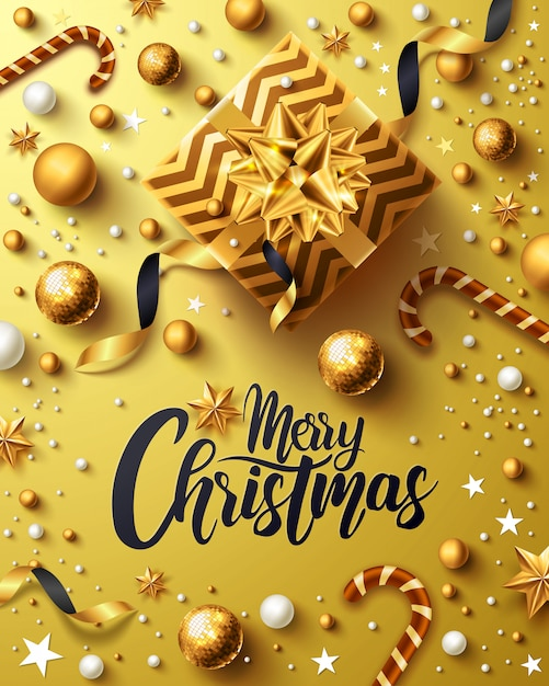 Christmas and new years golden poster with golden gift box Premium Vector